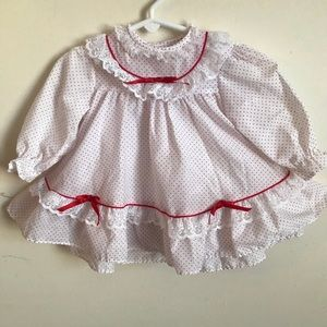 Other - Rare Vintage 1970's Sweetheart Red Bow Lace Dress